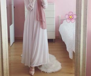 hijab, dress, and muslim image