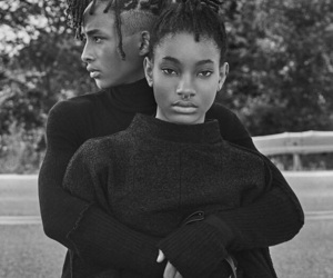 jaden smith, willow smith, and black and white image