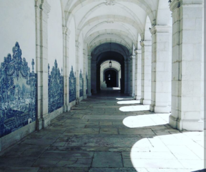 architecture, blue, and hallway image