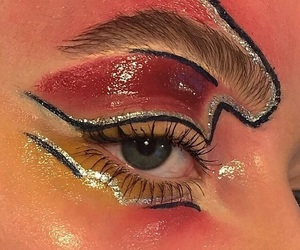 art, makeup, and red image