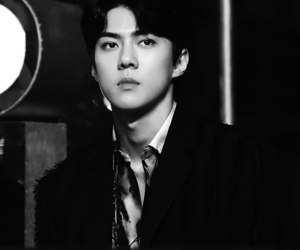aesthetic, black and white, and exo image