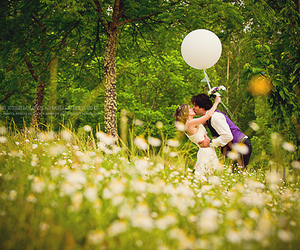 couple, kiss, and meadow image