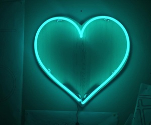 green, heart, and neon lights image