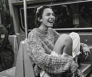girl, black and white, and happy image