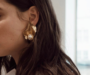 earrings, hair, and style image