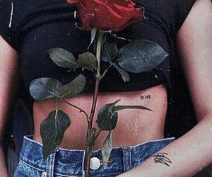 rose, girl, and black image