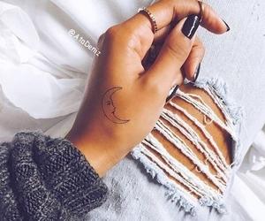 denim, moon, and nail polish image