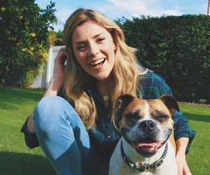 dog, grace helbig, and goose image