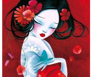 art, red, and geisha image