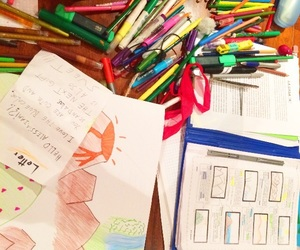 Paper, colores, and homework image