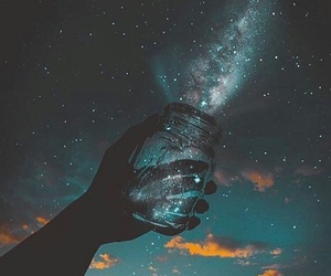 galaxy, hand, and lights image
