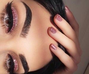eyebrows, nails, and make up makeup image
