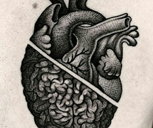 heart, tattoo, and brain image