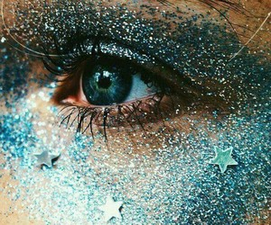 blue, eyes, and glitter image