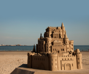 beaches, sand, and sandcastle image