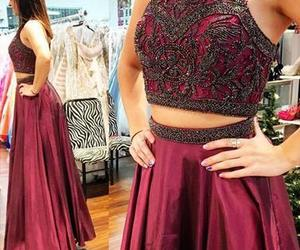 long prom dress, a-line evening dress, and high neck prom dresses image