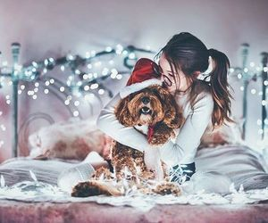 dog, girl, and light image