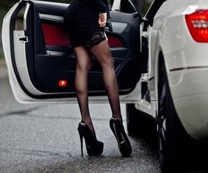 car, girl, and heels image