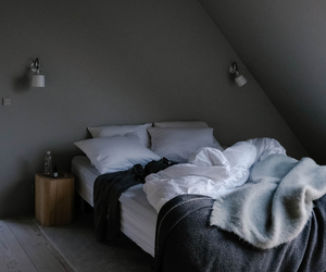 bed, bedroom, and interiors image