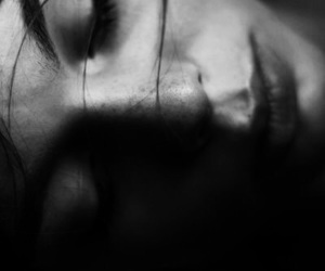 black and white, grunge, and lip image