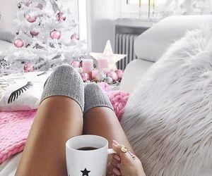 christmas, coffee, and pink image