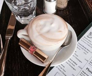coffee, lipstick, and makeup image
