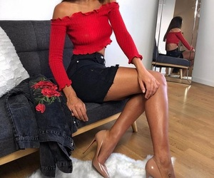 dope, outfit, and red black image