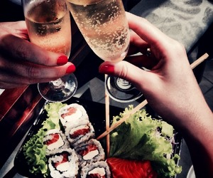 food, champagne, and sushi image