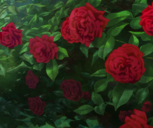 anime, nature, and roses image