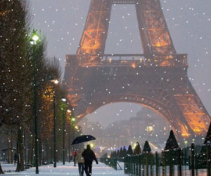 eiffel, holiday, and snow image
