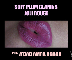 makeup, purple lips, and clarins image