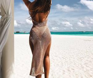 beach, brunette, and beautiful image