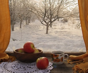 apples, cup of coffee, and window image