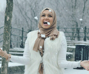 snow, hijab, and winter image