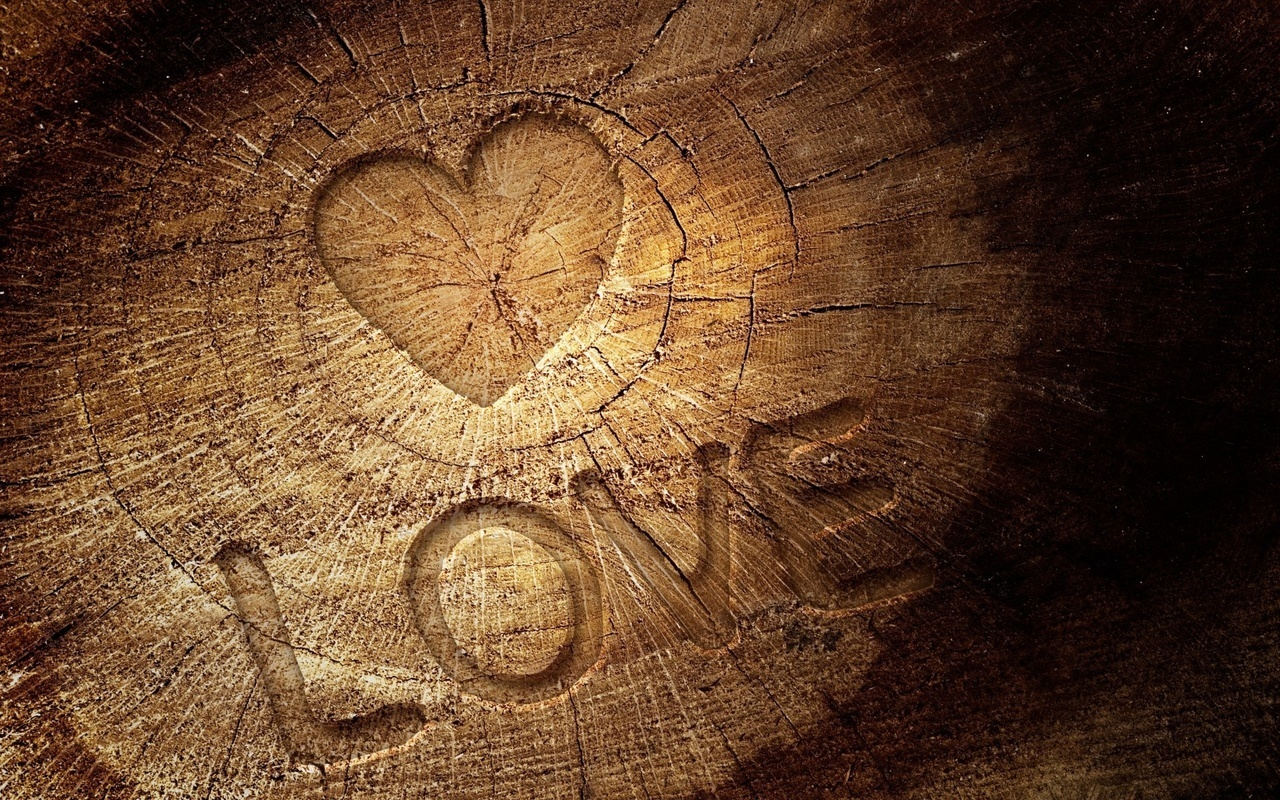 love, heart, and wood image