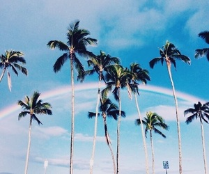 summer, rainbow, and beach image
