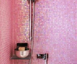 pink, shower, and bathroom image