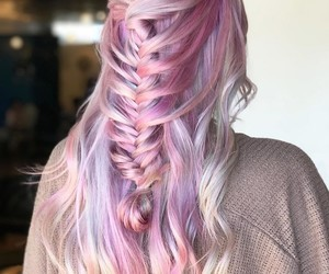 braids, color hair, and wavy image