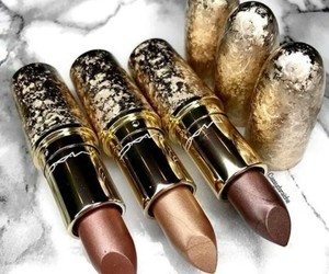 lipstick, gold, and mac image