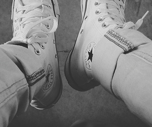 all star, converse, and black white image