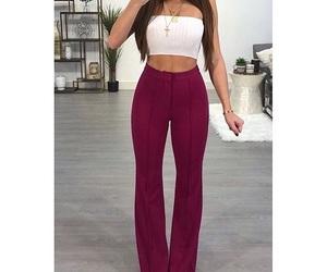 burgundy, crop, and pants image
