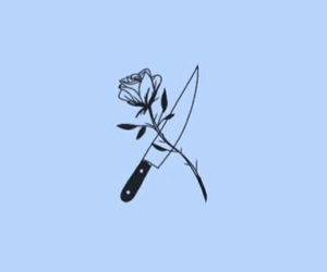 blue, knife, and rose image