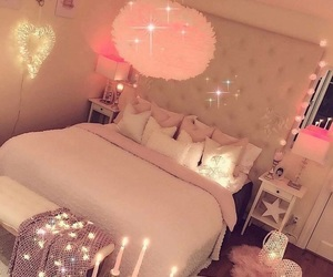 bed, pillows, and lights image