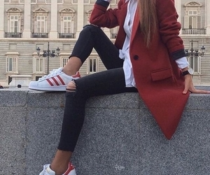 fashion, red, and adidas image
