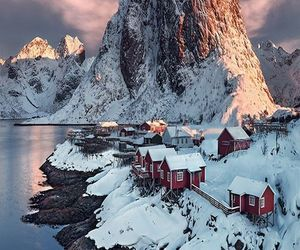 snow, norway, and mountains image