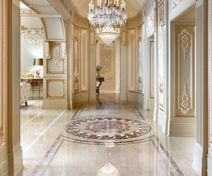 chandelier, golden, and wallpaper image