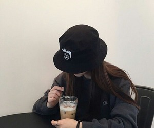 girl, ulzzang, and black image