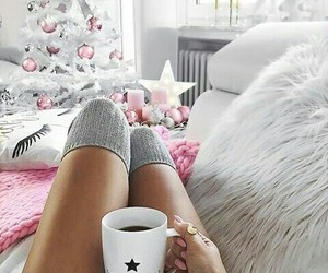 christmas, pink, and coffee image