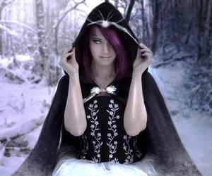 phatpuppy art and purple hair cloak snow image