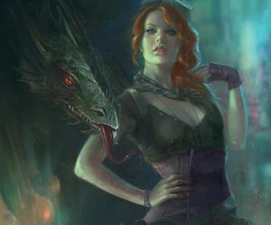 redhead steampunk dragon and marta vall art image